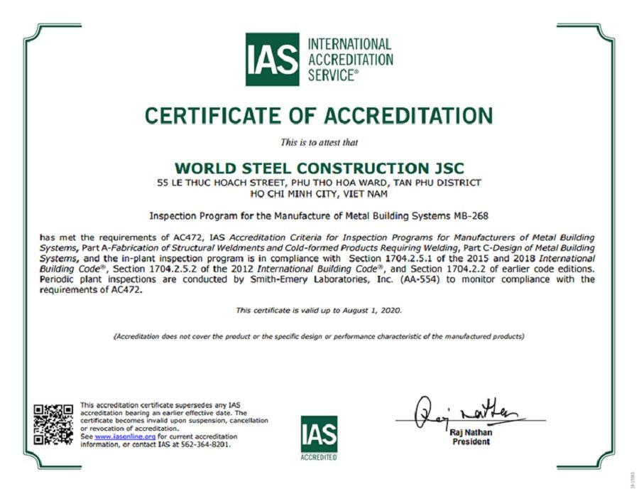 Chứng chỉ IAS AC472